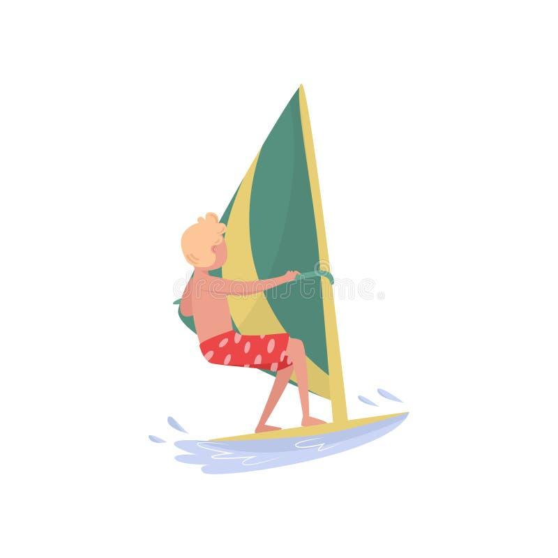 年轻人风帆冲浪在海的,在白色背景的海洋体育动画片传染媒介例证 向量例证