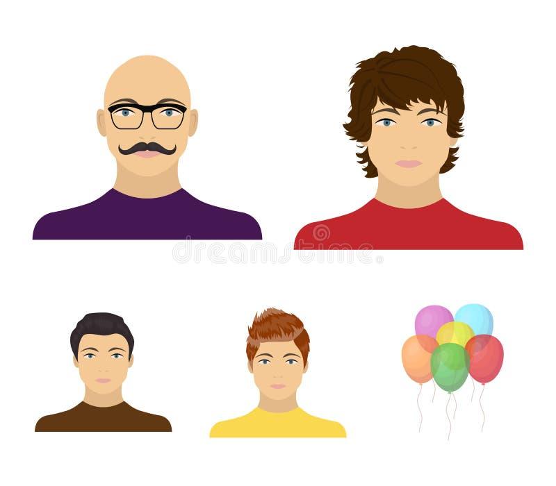 年轻人,一个秃头人的面孔的出现有一根髭的在他的玻璃 面孔和出现集合 库存例证