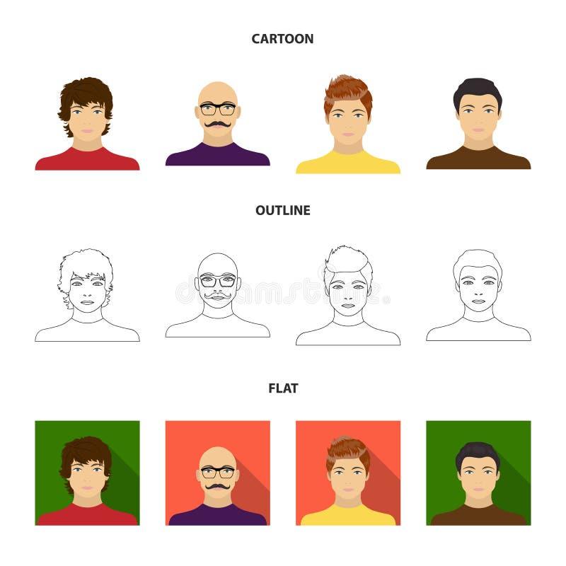 年轻人,一个秃头人的面孔的出现有一根髭的在他的玻璃 面孔和出现集合 向量例证