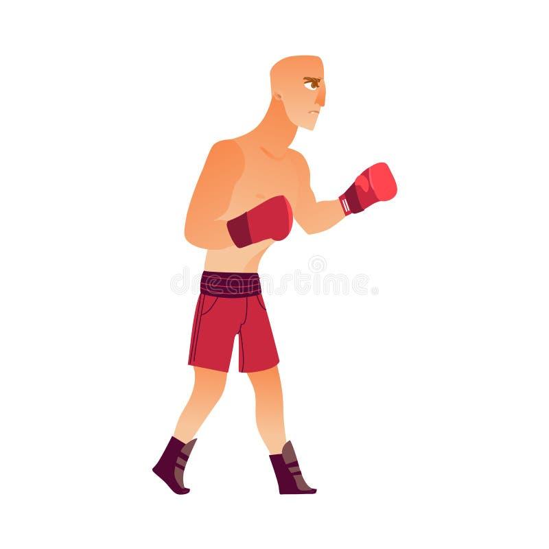 年轻人,拳击手套的秃头白种人男性拳击手 皇族释放例证