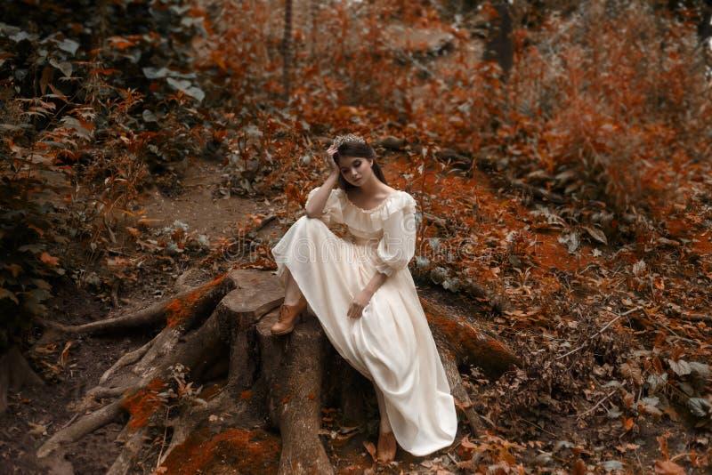 年轻人,有非常长的头发的一位公主坐一个大树桩从时髦盖子  残酷等待奇迹 免版税图库摄影