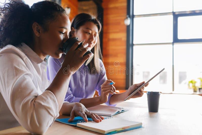 年轻企业家谈论在咖啡馆 免版税库存图片