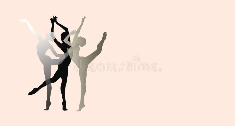 年轻优美的女性跳芭蕾舞者剪影在桃红色背景的 库存图片
