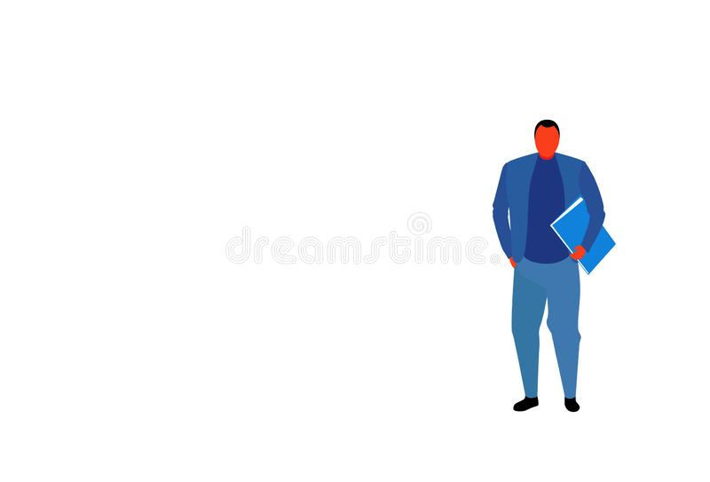 年轻佩带蓝色衣服上司身分的商人藏品文件文件夹男性办公室工作者商人摆在充分 库存例证