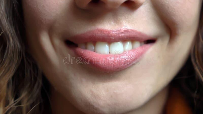 年轻俏丽的白种人女性面孔特写镜头射击与愉快地微笑直接在照相机前面的嫩嘴唇的 库存照片
