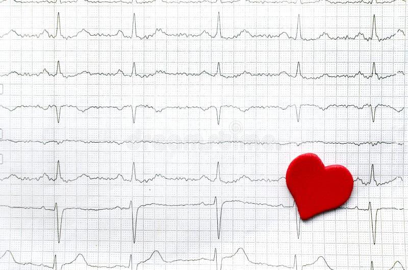 年轻健康妇女和红色纸红色心脏纸心电图  免版税库存照片