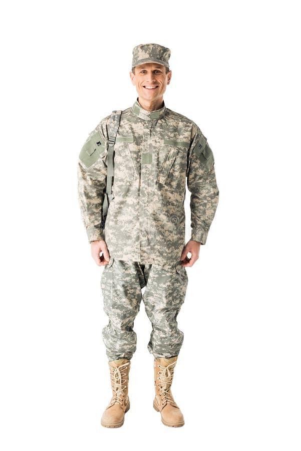 年轻军队战士佩带的制服 免版税库存照片