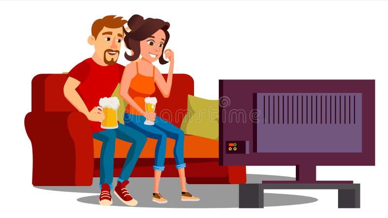 年轻加上啤酒看在沙发传染媒介的杯电视 按钮查出的现有量例证推进s启动妇女 皇族释放例证
