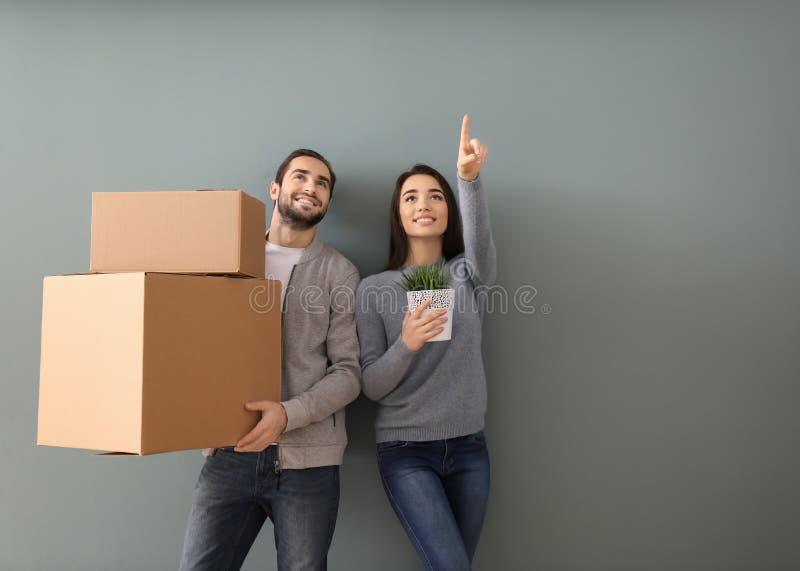 年轻加上箱子和室内植物在颜色背景 搬入新房 免版税库存照片