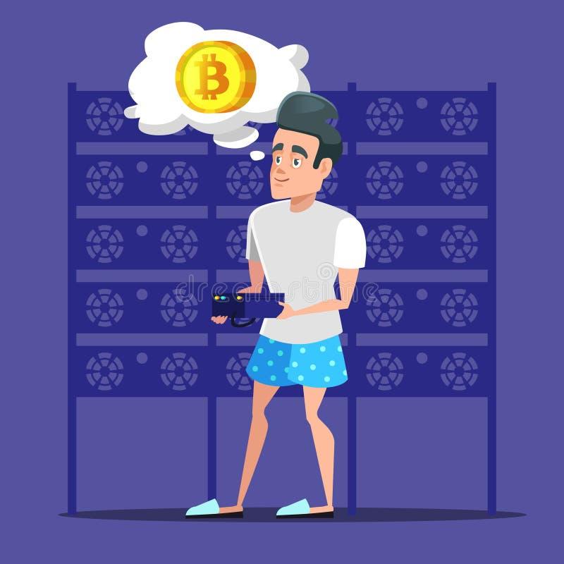 年轻动画片人Bitcoin矿工在服务器屋子里 Cryptocurrency采矿农场 皇族释放例证