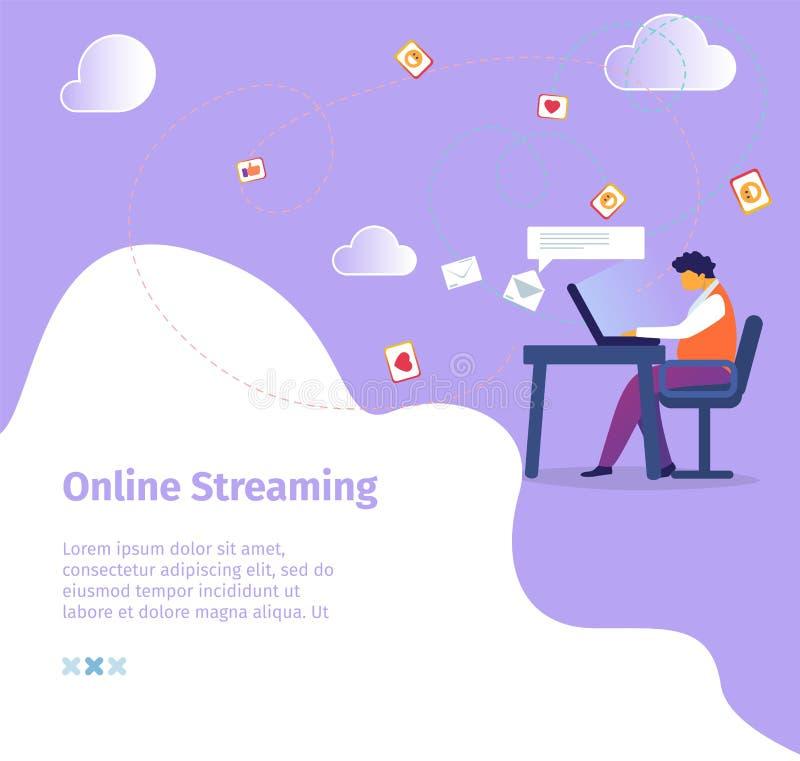 年轻博客作者主角录影博克海峡在互联网 向量例证