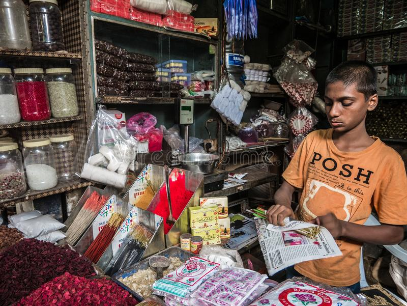 年轻印地安供营商在五颜六色的堆bindi粉末后在Devaraja市场上站立 免版税库存照片