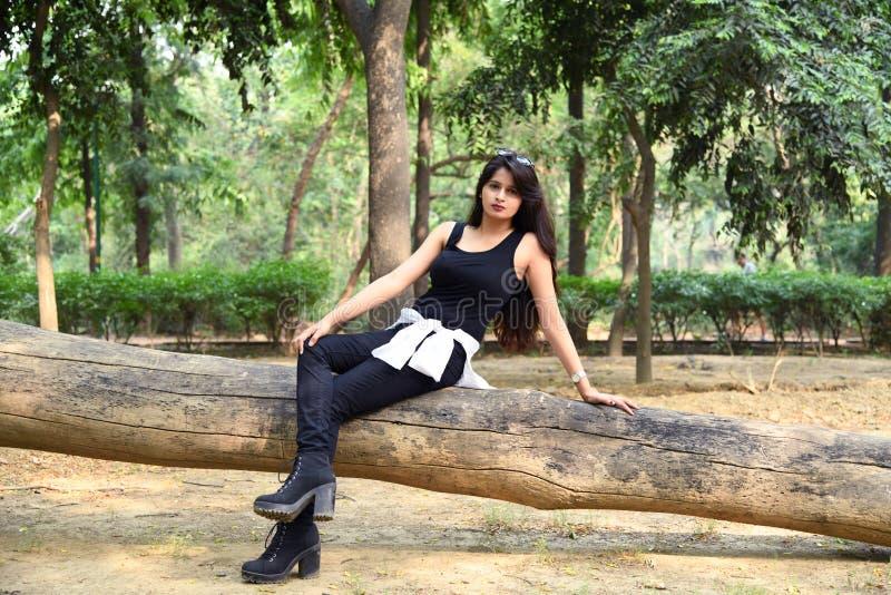 年轻印地安时装模特儿照片写真 库存图片