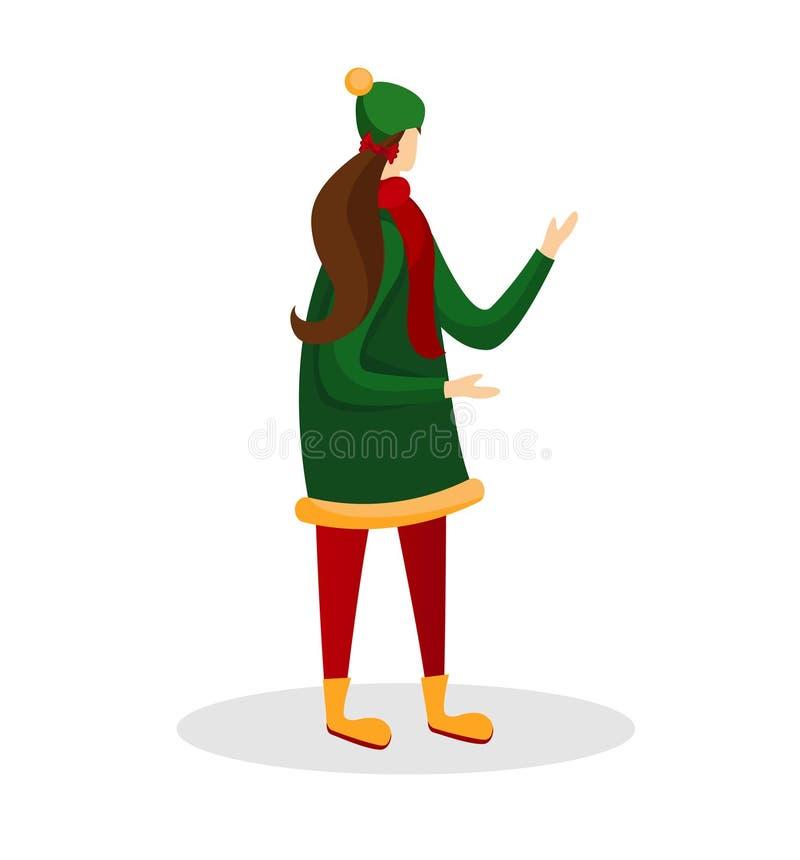 年轻可爱的女孩穿戴现代偶然冬天外套 向量例证