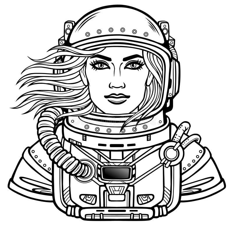 年轻可爱的妇女宇航员的动画画象航天服的 盔甲是开放的,头发振翼 皇族释放例证