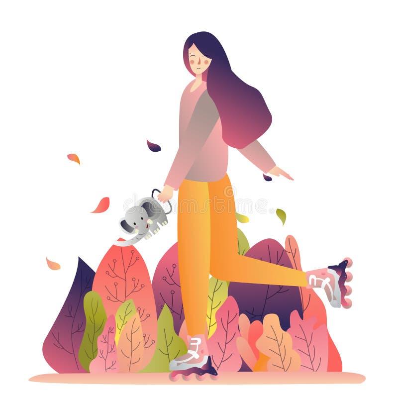 年轻可爱的妇女给水画平的可变的样式的植物嬉戏的明亮的饱和的颜色 皇族释放例证