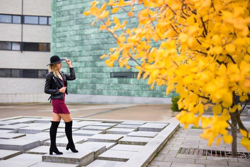 年轻可爱的白肤金发的妇女全长画象在秋天公园 图库摄影