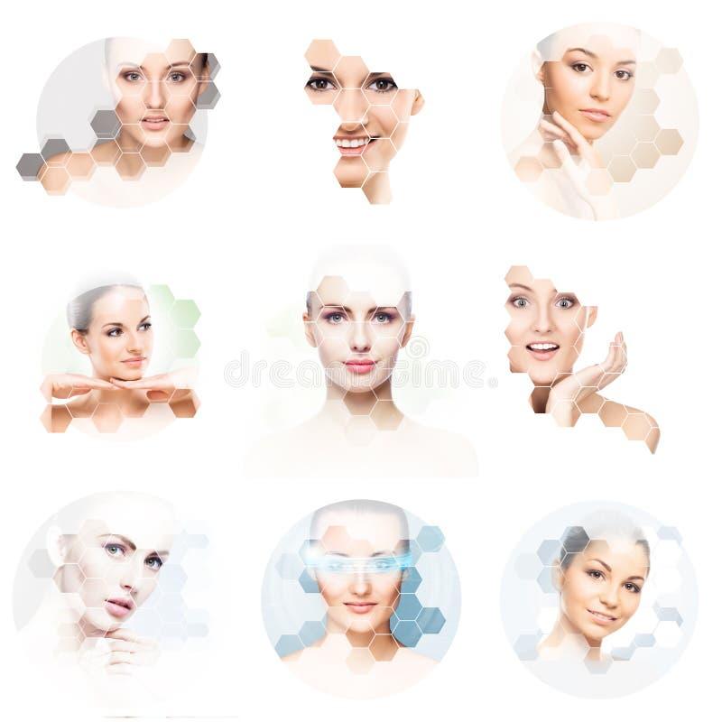 年轻和健康女孩的美丽的面孔拼贴画的 整容手术、护肤、化妆用品和整形概念 库存图片