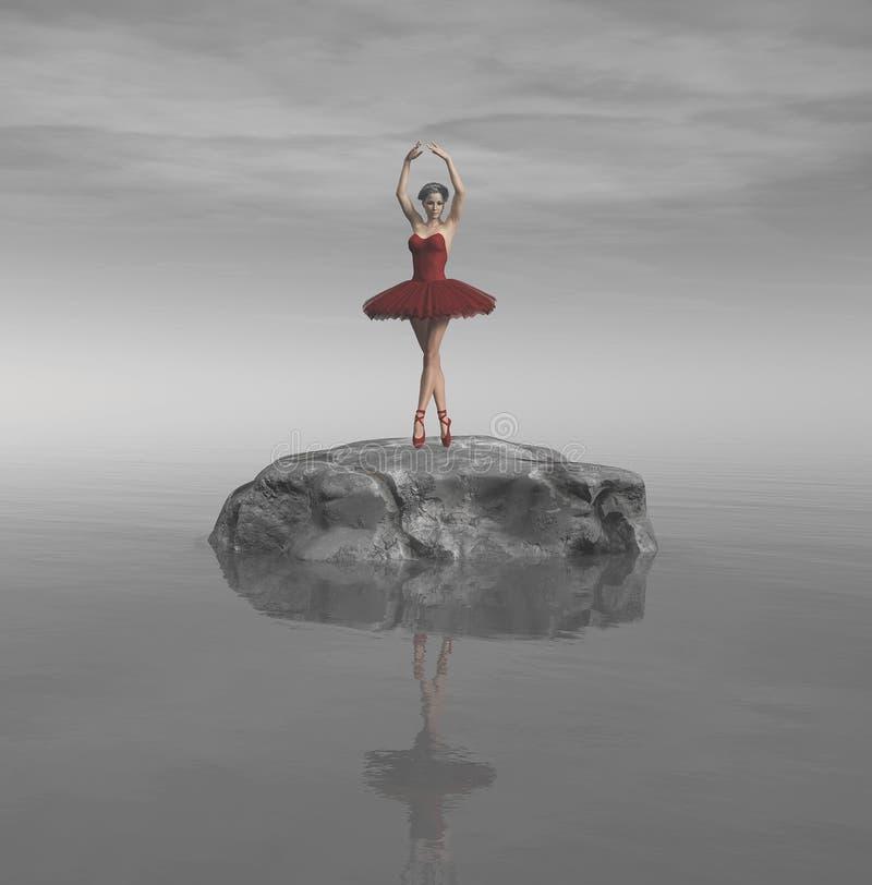 年轻和美丽的芭蕾舞女演员 向量例证