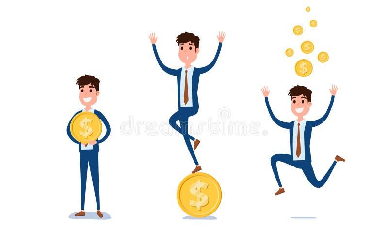 年轻商人字符设计 人行动在与金钱、不同的情感、姿势和赛跑,走的衣服的套,站立 库存例证
