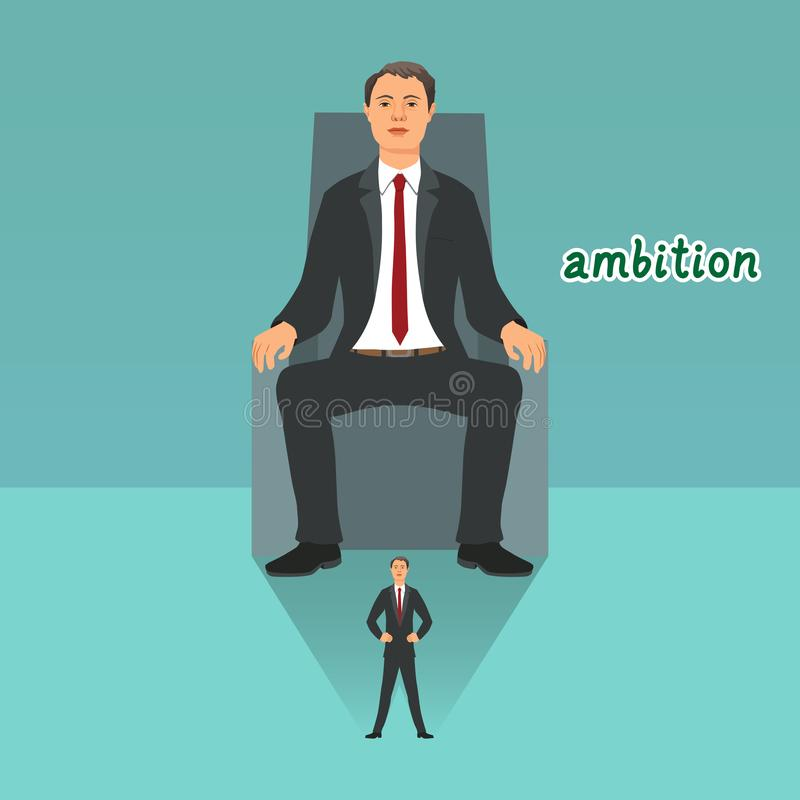 年轻商人感觉自己坐王位和达到成功 库存例证