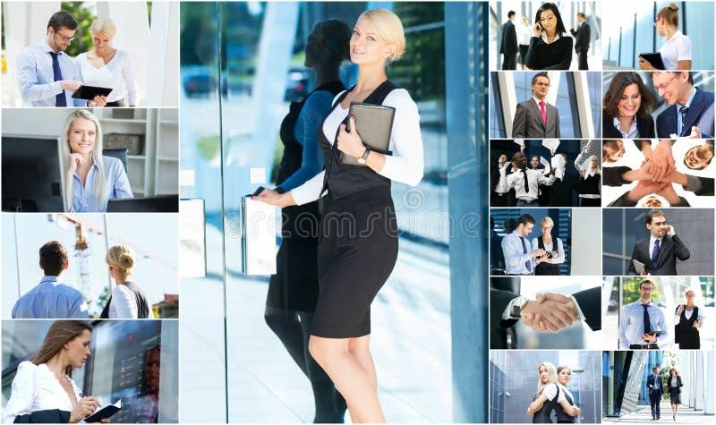 年轻商人拼贴画  免版税库存图片