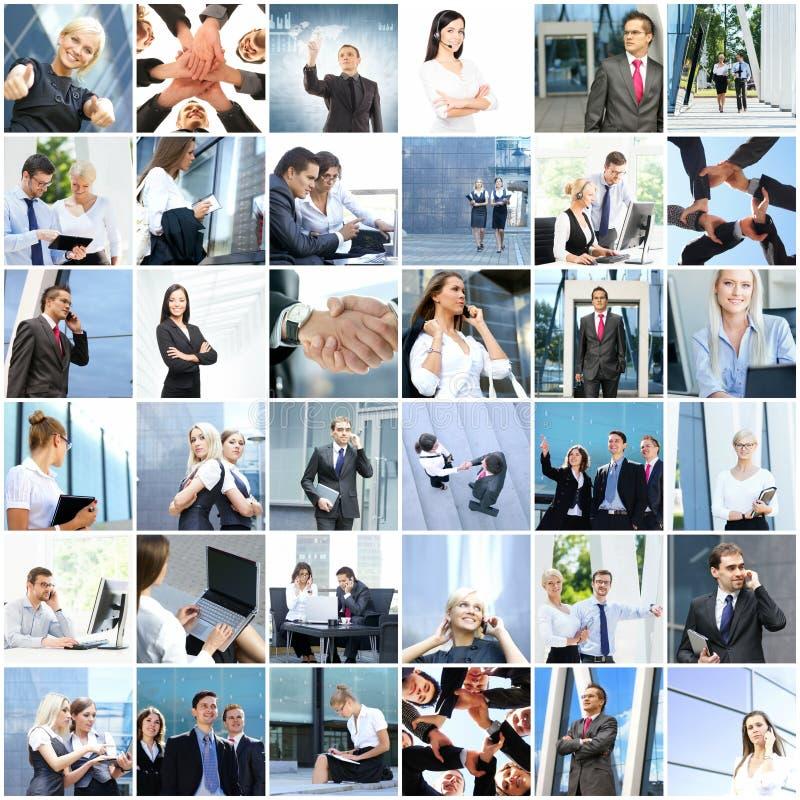 年轻商人拼贴画  免版税库存照片