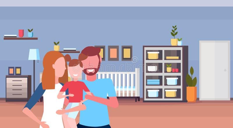 年轻在家举行一点儿子婴孩床新出生的室木小儿床孩子卧室内部动画片的家庭慈爱的父母 库存例证