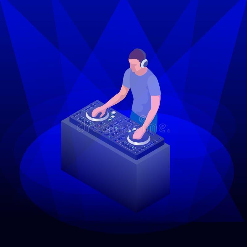 年轻在转盘的行家DJ混合的音乐 在甲板的DJ使用的和混合的音乐党的 传染媒介平的设计 向量例证