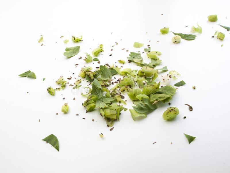 年轻大蒜和胡椒混合物的顶视图  免版税库存照片