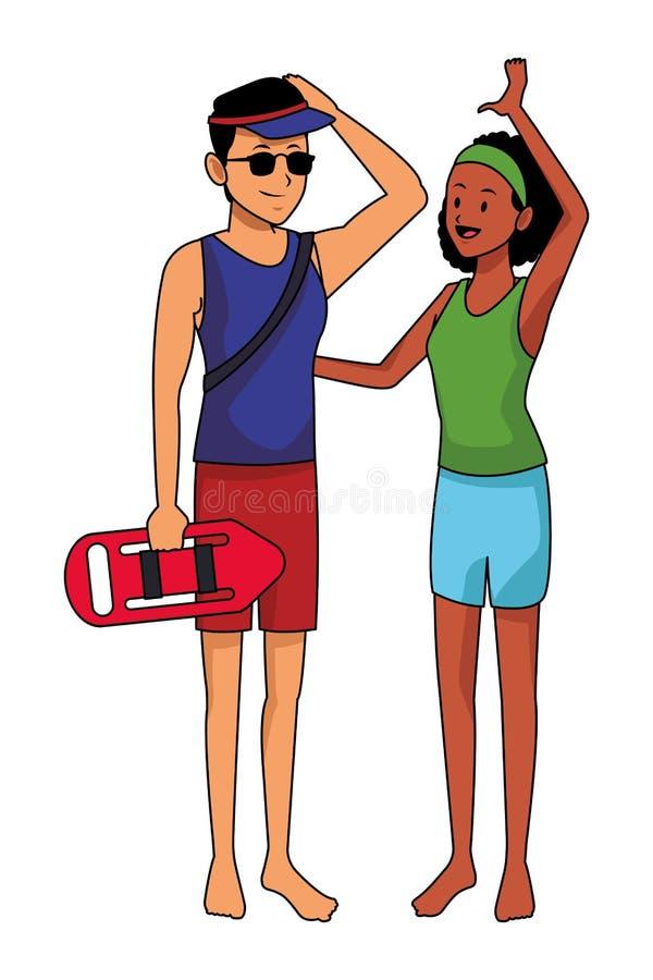 年轻夫妇在夏天 向量例证