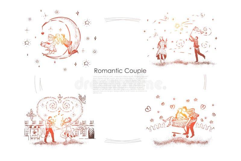 年轻夫妇在日期,人传染性的星,弹萨克斯管,在手推车的对乘驾的人们,约会横幅 库存例证