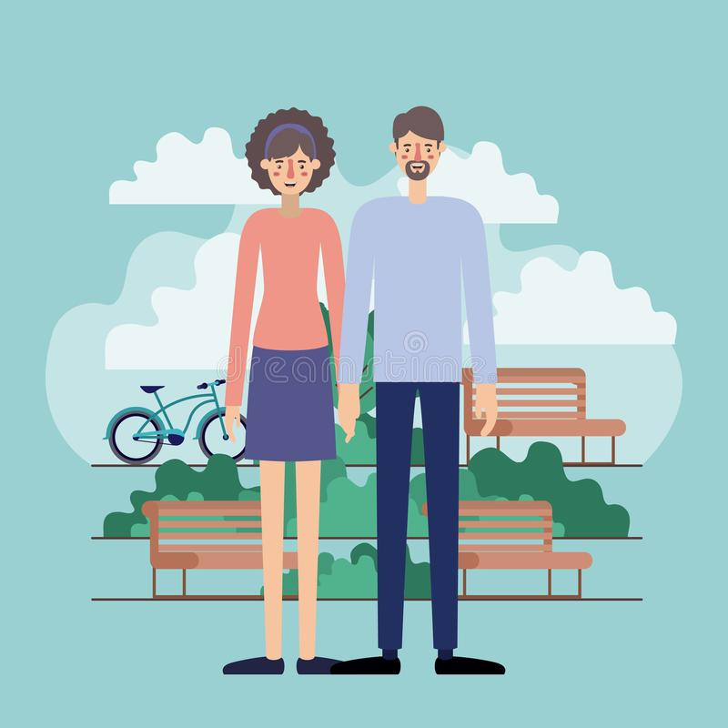 年轻夫妇在有自行车的公园 皇族释放例证