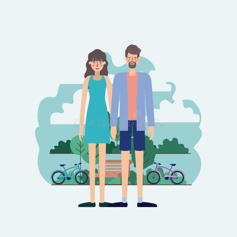 年轻夫妇在有自行车的公园 库存例证