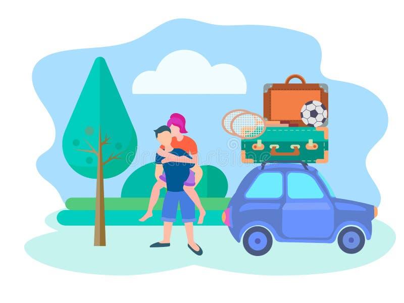 年轻夫妇欣喜和唬弄继续一次旅途在路和装备为休闲汽车 库存例证