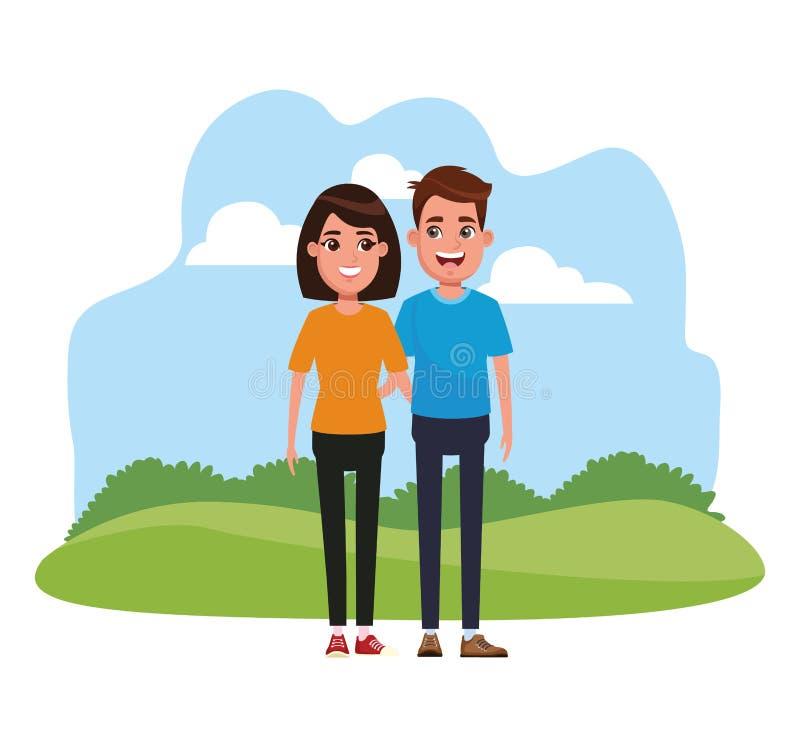 年轻夫妇动画片 向量例证