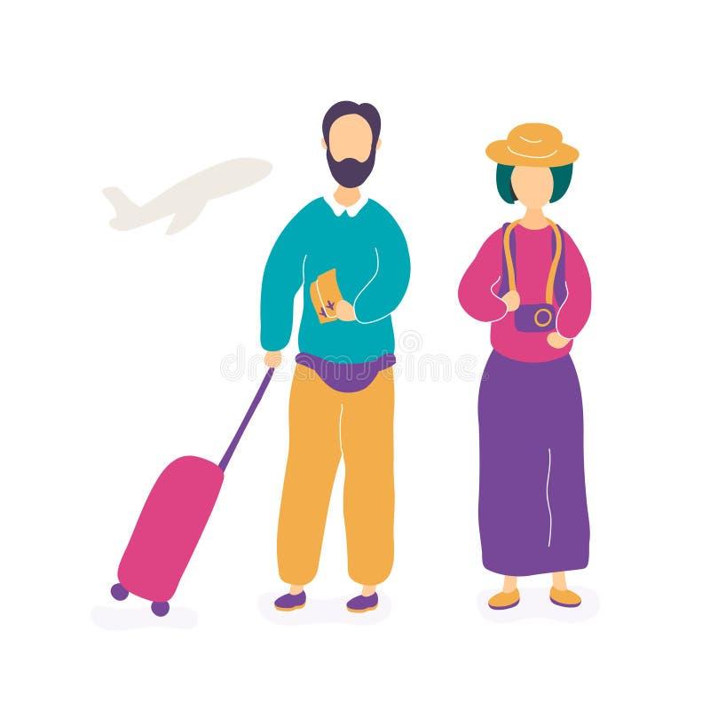 年轻夫妇等待的飞行在机场 皇族释放例证