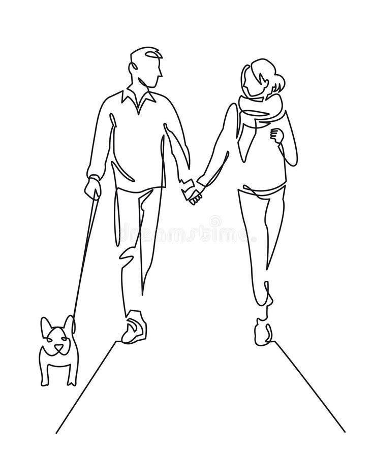 年轻夫妇走的狗连续的一条线传染媒介图画 皇族释放例证