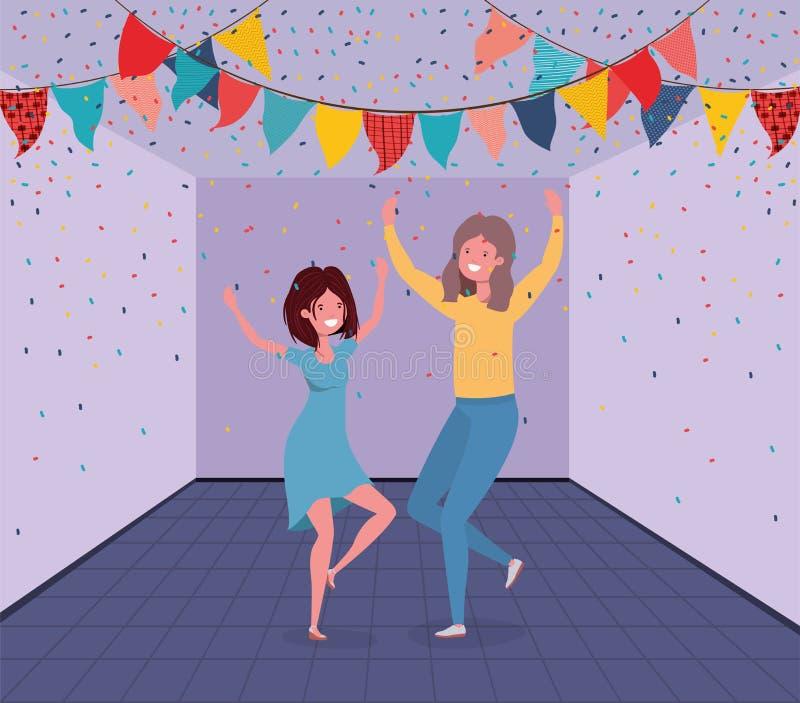 年轻夫妇跳舞在屋子里 库存例证