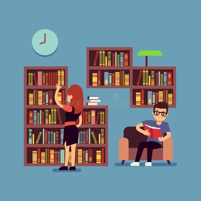 年轻夫妇阅读书-平的图书馆或客厅概念 皇族释放例证