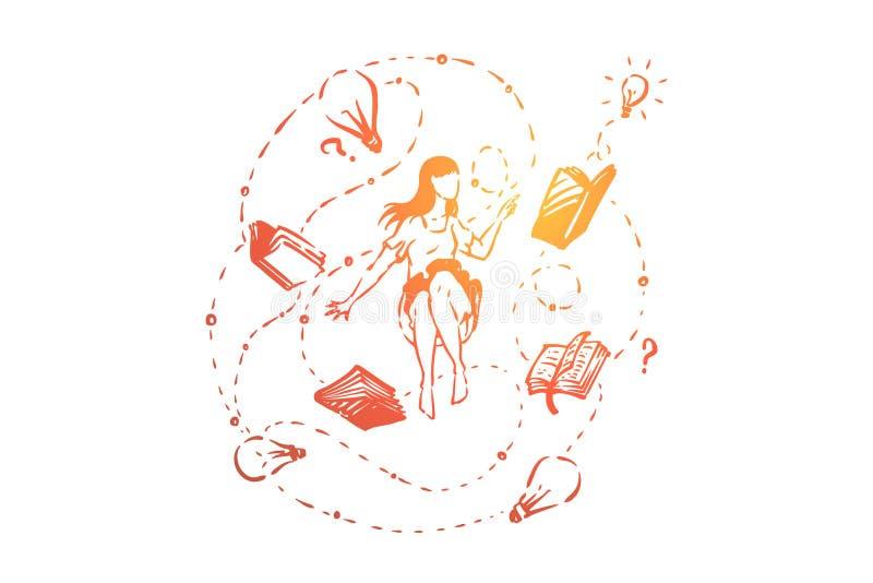年轻女人、学生围拢与书,电灯泡和问号,突发的灵感,想法一代 皇族释放例证