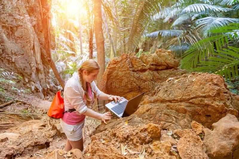 年轻女人与在山和热带丛林的一台膝上型计算机一起使用 在旅行的遥远的工作 看看计算机 库存图片