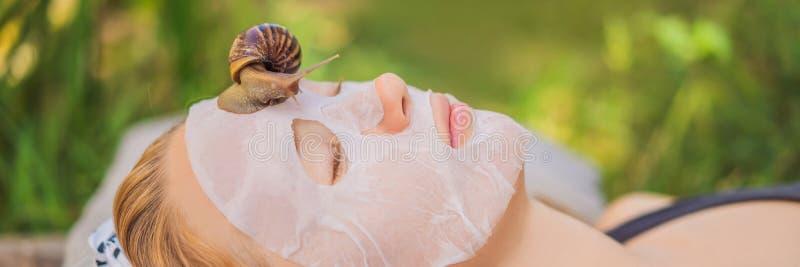 年轻女人做与蜗牛黏液的一面膜 蜗牛爬行在面膜横幅的,长的格式 库存照片