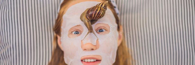 年轻女人做与蜗牛黏液的一面膜 蜗牛爬行在面膜横幅的,长的格式 库存图片