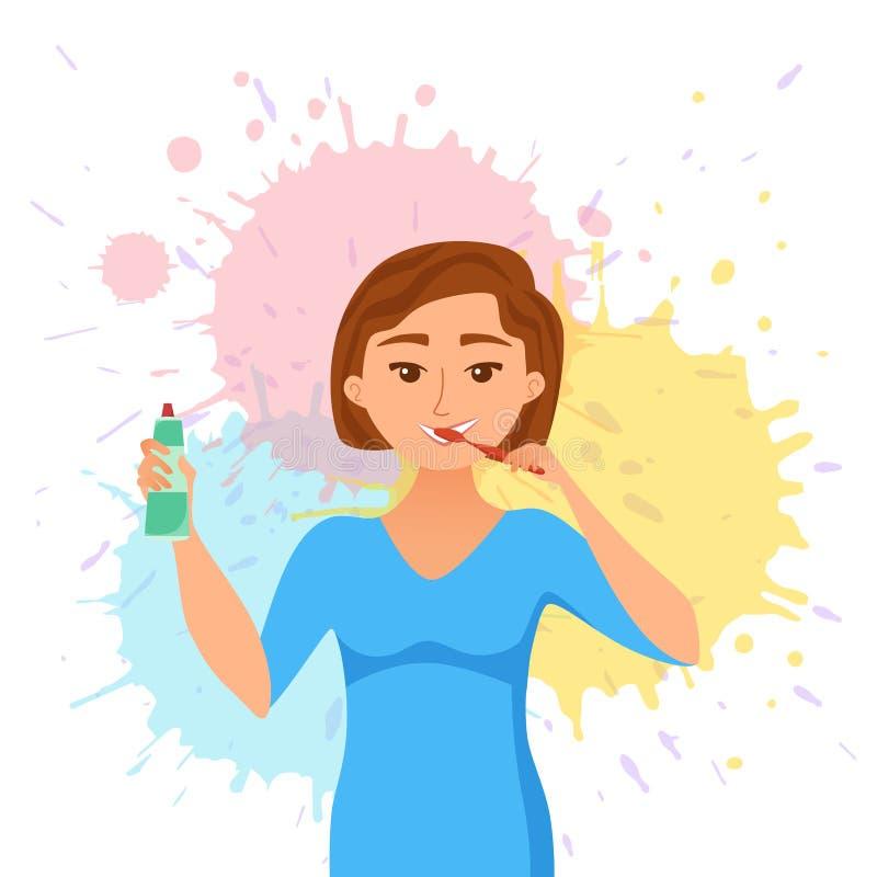 年轻女人刷子牙动画片样式传染媒介概念 微笑的快乐的女孩 皇族释放例证