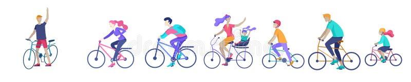 年轻女人和人在骑自行车的公园、家庭和朋友骑自行车 妈妈、爸爸和孩子自行车的在 向量例证