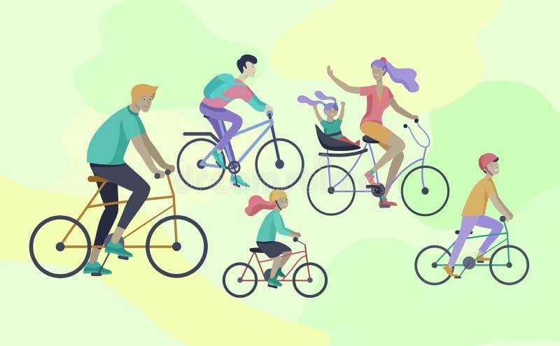 年轻女人和人在骑自行车的公园、家庭和朋友骑自行车 妈妈、爸爸和孩子自行车的在 库存例证