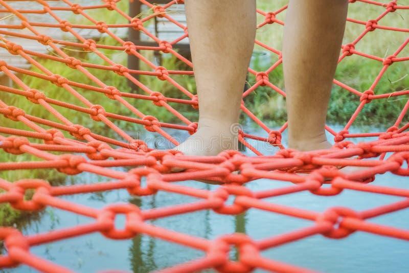 年轻女人在桥面上设法走栓以红色绳索横渡在领域的沼泽 库存图片