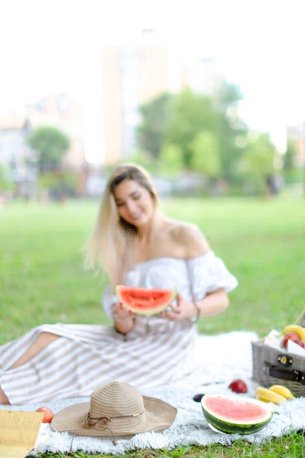 年轻女人坐格子花呢披肩在果子和帽子附近,吃西瓜,草在背景中 免版税库存图片