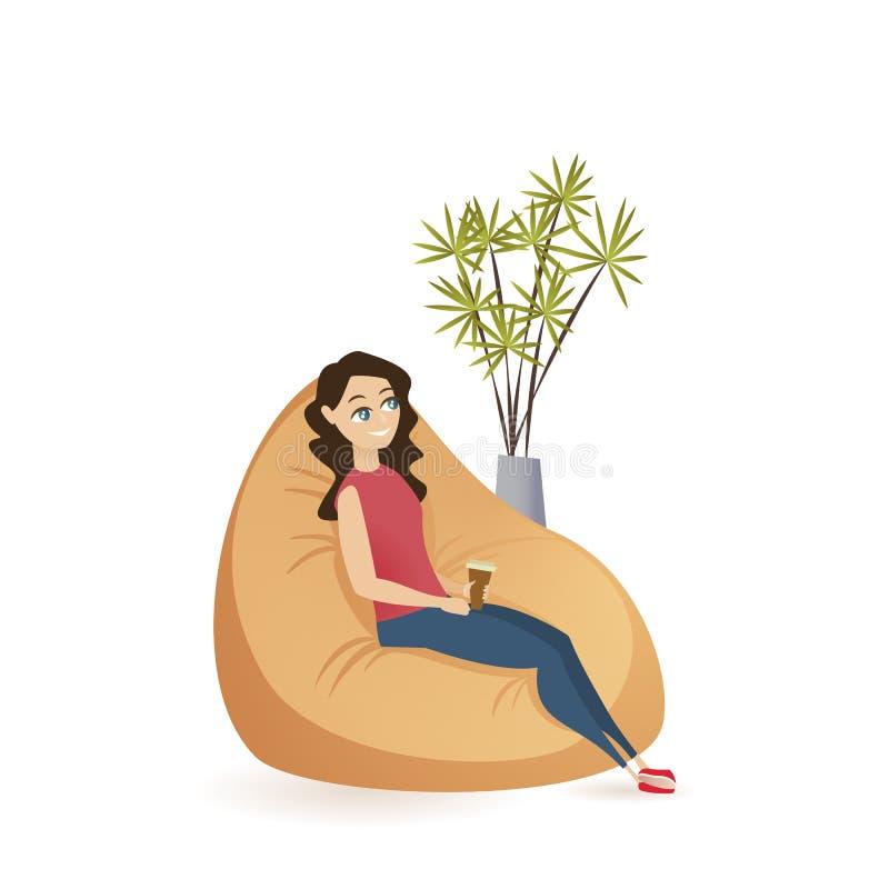 年轻女人坐的安静在布朗装豆子小布袋椅子 向量例证